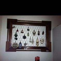 My home made earring holder. For those larger earrings that just need a place to hang. It was a 10 minute project and cost me :$0