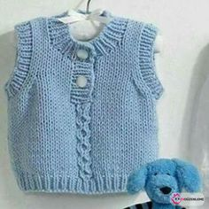 Colete infantil de tricô ou poncho na Crochet For Kids, Crochet Baby, Knit Crochet, Baby Sweater Knitting Pattern, Baby Knitting Patterns, Knit Fashion, Sweater Fashion, Baby Sweaters, Knitted Hats