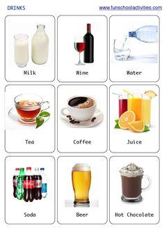 Printable Drinks flashcards