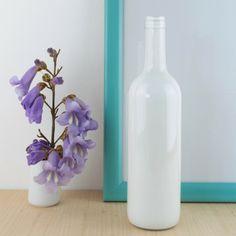 Botella de vino reciclada en blanco   AnticChic