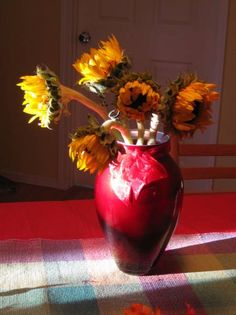 Sunflowers & Red Vase - WetCanvas | Reference Image Library