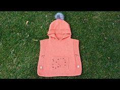 How to Knit - Girls' Poncho Sweater Years) Crochet Baby, Knit Crochet, Girls Poncho, Poncho Sweater, Crochet Videos, Baby Knitting Patterns, Baby Kids, Beanie, Graphic Sweatshirt