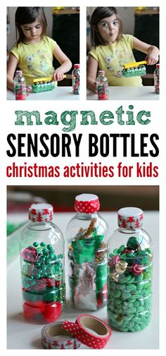 Great keep them busy while you cook activity. Fun sensory bottles for Christmas.