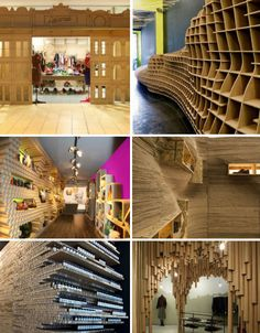 Some inspiring ideas done with recycled cardboard. Skip past the Christmas trees and pay extra close attention to the outdoor installations!
