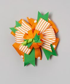 Take a look at the Orange Pumpkin Bow Clip on #zulily today!