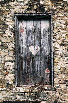 It's the little things..... window, rustic doors, shutter, old doors, heart door