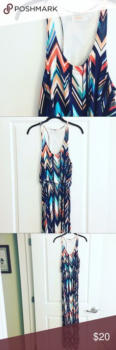 """Renee Maxi Dress The perfect Summer dress! Imagine wearing it to the winery with the girls, on your next vacation, or maybe an outdoor wedding! Super stretchy and comfortable. Pair with a leather jacket or a cute cardigan. Worn a few times last Summer. Some pilling. Approx 38"""" long from elastic waist down. No tag but defiantly would fit a medium/size 8. No trades but reasonable offers accepted! Renee Dresses Maxi"""