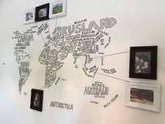 Wereldkaart typografie en foto's waar we geweest zijn