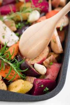 Onions • Garlic • Leeks • Carrots • Potatoes • Daikon Radish • Yams • Winter Squash • Turnips • Parsnips • Beets  One of the following spice: Basil & oregano • curry • garam masala • thyme & sage • cumin & garlic powder • rosemary & parsley    Preheat your oven to 375 degrees F. Toss with olive oil and herbs/spices of your choice and salt to taste. Bake in a casserole dish for about 45 minutes or until vegetables are tender to a fork and browned a bit. Check after 30 minutes and toss.