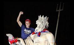 """""""Soñamos despiertos"""": Neptuno dio la bienvenida a la Supercopa de Europa 2012 del Atlético de Madrid"""