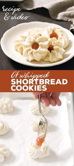 These gluten free whipped shortbread cookies are light as air and melt in your mouth. They're the best shortbread cookies in the world—and made with only 4 basic ingredients! Gluten Free Shortbread Cookies, Chocolate Chip Shortbread Cookies, Buttery Cookies, Spritz Cookies, Paleo Cookies, Gluten Free Treats, Gluten Free Baking, Gluten Free Desserts, Tea Cakes