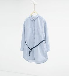 Image 1 of Striped long shirt with belt from Zara