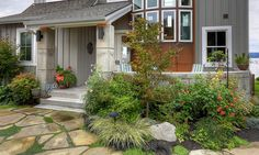by Dan Nelson, Designs Northwest Architects Drought Tolerant Landscape, Front Yard Landscaping, Landscaping Ideas, Yard Art, Garden Beds, Curb Appeal, Beautiful Gardens, Exterior, Patio
