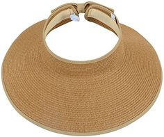 Women's Summer Wide Brim Roll-Up Straw Sun Visor Hat,Natural - Fashionable, trendy, and easy to carryAdjustable velcro and elastic band closure allows for acomfortable fit while maintaining its shapeFeatures a roll-up function; Incredibly convenient as it isfoldable for easy storage or for taking on the go while traveling Material: 100% StrawMeasurement: Adj...
