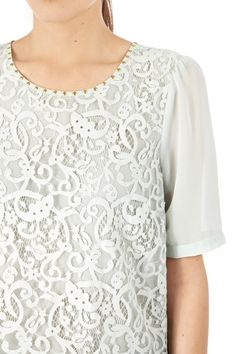 Tops | Green Lace Front Peplum Top. | Warehouse