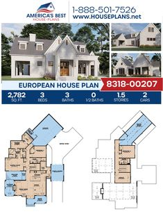 Designed with exquisite European details, Plan 8318-00207 highlights 2,782 sq. ft., 3 bedrooms, 3 bathrooms, a porte cochere, a kitchen island, an open floor plan, a bonus room, and an office. #architecture #houseplans #housedesign #homedesign #homedesigns #architecturalplans #newconstruction #floorplans #dreamhome #dreamhouseplans #abhouseplans #besthouseplans #newhome #newhouse #homesweethome #buildingahome #buildahome #residentialplans #residentialhome European Plan, European House Plans, Best House Plans, Dream House Plans, Porte Cochere, Open Floor, New Construction, Square Feet, Building A House