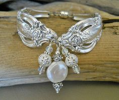 Silver Artistry Silver Plated Spoon Bracelet with Genuine Coin Pearl. $46.00, via Etsy.