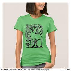 Siamese Cat Block Print Design T-shirt