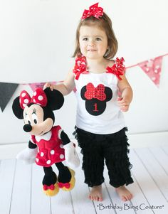 *Girls Birthday Bling Minnie Mouse Red and Black Pettipants Outfit