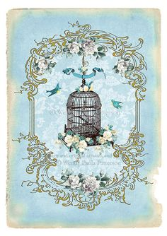 Bird Cage Giclee Art Print Paris in the Spring Floral Vintage, Vintage Birds, Vintage Prints, Vintage Posters, Vintage Birdcage, Vintage Decor, French Vintage, Decoupage Vintage, Decoupage Paper
