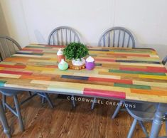 s 11 fascinating spit table makeovers your home needs right now, Use Multiple Stains For A Color Block Diy Organizer, Hippie Home Decor, Diy Home Decor, Wood Surface, Painted Furniture, Unique Furniture, Funky Furniture, Recycled Furniture, Furniture Ads