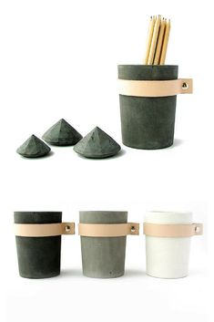 I love this concrete and leather cup. Prefect flower planter, pencil holder and storage. Nice design. #commissionlink #concrete #cement #leather #pot #cup #flowerplanter #pencilholder #homedecor