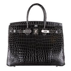 SEXIEST HERMES BIRKIN BAG 35cm CROCODILE GRAPHITE SHINY POROSUS PALLADIUM | From a collection of rare vintage handbags and purses at http://www.1stdibs.com/fashion/accessories/handbags-purses/
