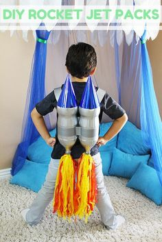 There's no limit to what their imagination can come up with when you strap these DIY rocket jet packs on their backs! shows you how to transform 2 liter bottles into rocket jet packs that are perfect for parties, playdates, or an afternoon of Kids Crafts, Toddler Crafts, Toddler Activities, Projects For Kids, Diy For Kids, Diy And Crafts, Science Projects, Space Party, Space Theme