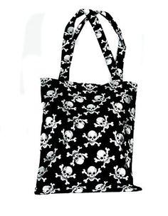 Metallic Silver Skull Tote Bag Gothic Dark Black Fashion Purse