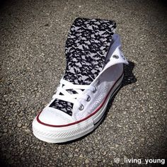 White High Top Converse with black Floral Lace Sneakers - A new romantic twist to the classic converse. They are pretty and edgy, adding a