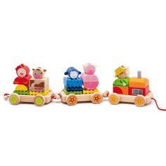 Ce petit train en bois est composé d'un tracteur, de deux remorques, de quatre animaux et d'un fermier. Avant de tirer les 3 wagons, votre enfant va devoir faire preuve d'adresse et de patience pour empiler les éléments de ce train en bois.