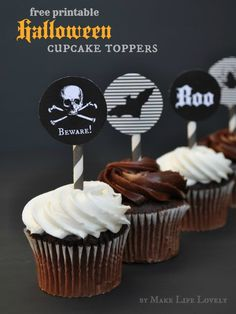 Free Printable Halloween Cupcake Toppers - Make Life Lovely