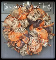 Yvette Nelson has a great Wreath Board. Fall Deco Mesh and Jute Wreath