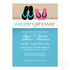 42757fc487d421 Flip Flop Couples Wedding Shower Invitations Personalised Wedding  Invitations
