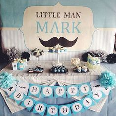 Blue little man mustache birthday party! See more party ideas at CatchMyParty.com!