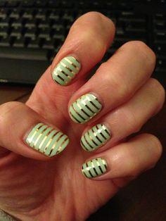 Mint & Gold Horizontal Stripes! Jamberry Nail Wraps  www.NoMorePolish27.jamberrynails.net