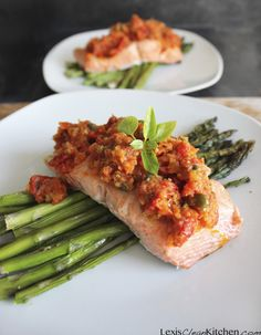 Whole 30 recipes, clean eating recipes, healthy eating, salmon recipes, sea Healthy Low Carb Recipes, Primal Recipes, Clean Eating Recipes, Salmon Recipes, Seafood Recipes, Dinner Recipes, Lexi's Clean Kitchen, Roast Fish, Healthy Food Delivery