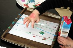rubber band painting and other simple painting projects for preschoolers