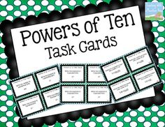 {FREE} Powers of Ten Task Cards 5.NBT.2!