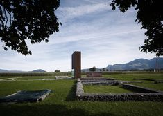 Rusty steel tower by Marte.Marte Architects frames Roman ruins in Austria Villa, Location, Landscape Architecture, Austria, Monument Valley, Tower, Steel, Mountains, Places