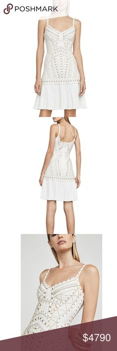 """Herve Leger - RARE ADELINE EYELET BANDAGE DRESS Herve Leger """"ADELINE"""" EYELET JACQUARD BANDAGE DRESS - Brand new without tags (still listing as NWT though since it is NEW)  Currently on Herveleger.com, take a look :)  This figure-defining, body-con dress in sumptuous geometric jacquard, leather applique, and an enticing hemline flourish for an unforgettable entrance and exit.  Concealed back zipper and hook-and-eye closures Hits above the knee Formfitting Size small measures approximately…"""