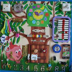 """Развивающие игрушки ручной работы. Ярмарка Мастеров - ручная работа. Купить Развивающая доска (бизиборд) для детей """"Нюша"""". Handmade. Разноцветный"""