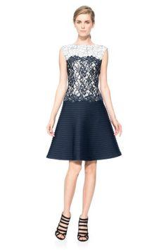 Tadashi Shoji Pintuck Neoprene A-Line Dress with Lace Detail