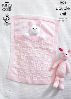 Baby Blankets and Bunny Rabbit Toy in King Cole DK (4006) | Deramores