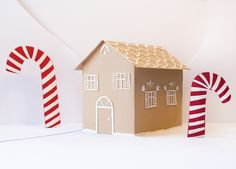 Christmas Gingerbread House with Candy Canes paper craft scene