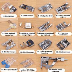 lot de 15 pieds standards pour machine a coudre – Life ideas Sewing Machine Projects, Sewing Machine Parts, Sewing Projects For Beginners, Sewing Tools, Sewing Hacks, Sewing Tutorials, Sewing Patterns, Coin Couture, Couture Bags