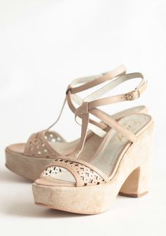 "Primrose Beauty Open Toe Wedges 74.99 at shopruche.com. Romantic and feminine, these beige leather wedges are complemented with a demure open toe, an adjustable ankle strap, and a softly textured heel for a look that is decidedly elegant.Leather upper and lining, Slightly padded footbed, 4.5"" heel"