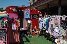 Vintage caravan and clothes in West End Brisbane Vintage Market, Vintage Shops, Safari Shirt, Retro Bicycle, Quirky Decor, Market Stalls, Vintage Vans, Vintage Boutique, Vintage Inspired