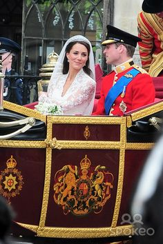 Prince William and Kate Middleton leaving Westminster Abbey by Royal carriage after their Wedding. Kate & Wills announced their engagement in November last year after William proposed during a holiday in Kenya.