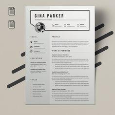 Resume Gina by Estartshop Resume Design Template, Cv Template, Resume Templates, Design Templates, Student Cv Examples, Free Resume Examples, Resume Cv, Best Resume, Cv Design